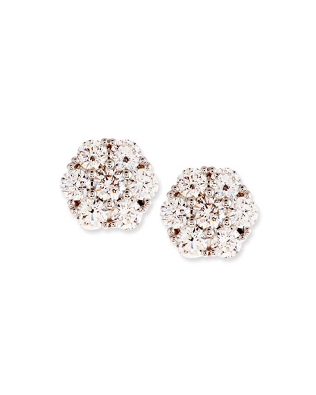 Diamond Flower Cluster Earrings, 1.46 tdcw
