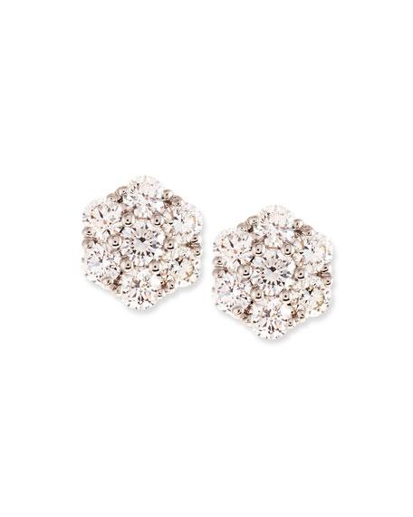 Small Diamond Flower Cluster Earrings, 0.97 tdcw