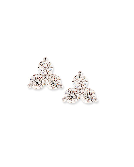 Diamond Trio Stud Earrings, 0.95 tdcw