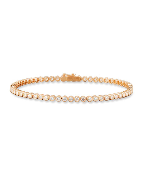 Diamond Line Bracelet in 18K Rose Gold