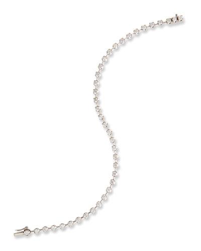 Spaced Diamond Line Bracelet in 18K White Gold, 2.0 tdcw
