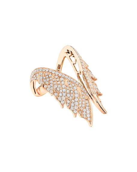 Magnipheasant Diamond Open Wing Ring in 18K Rose Gold