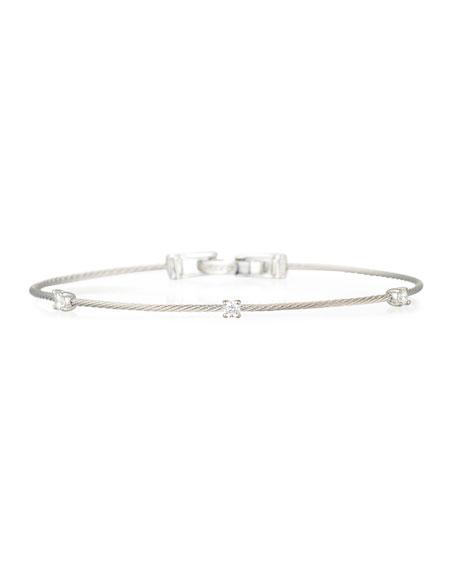 18k White Gold Three-Diamond Bracelet, 0.18 TCW