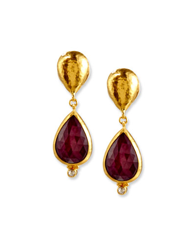 Empress Rose-Cut Ruby Earrings with Diamonds