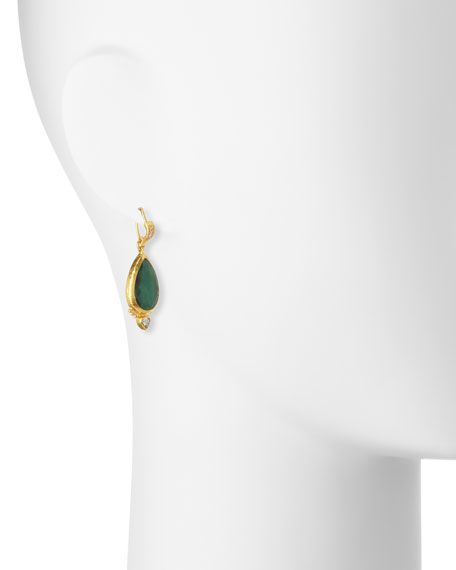 Empress Rose-Cut Emerald Earrings with Diamonds