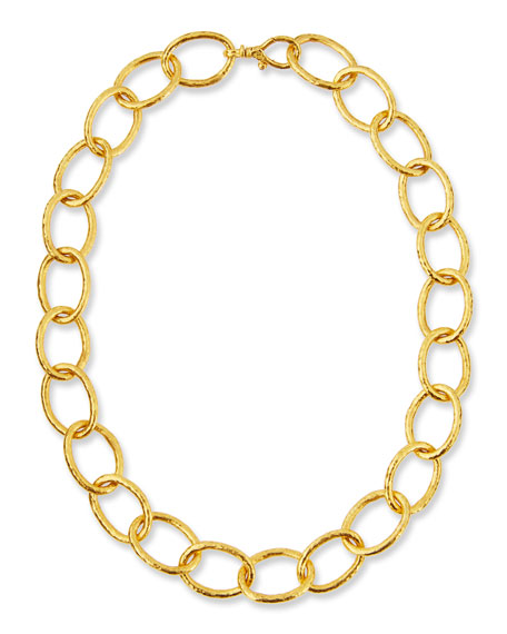 Hoopla 24K Gold Oval Link Necklace, 16""