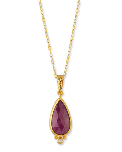 Aurora Rose-Cut Ruby & Diamond Pendant Necklace
