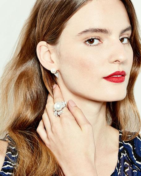 V Linked Diamond Two-Finger Ring in 18K White Gold
