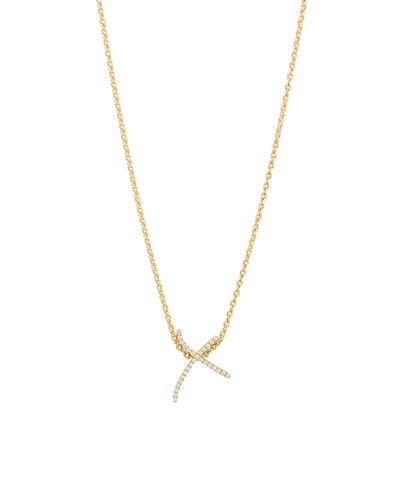 Kiss Diamond Pendant Necklace in 18K Yellow Gold