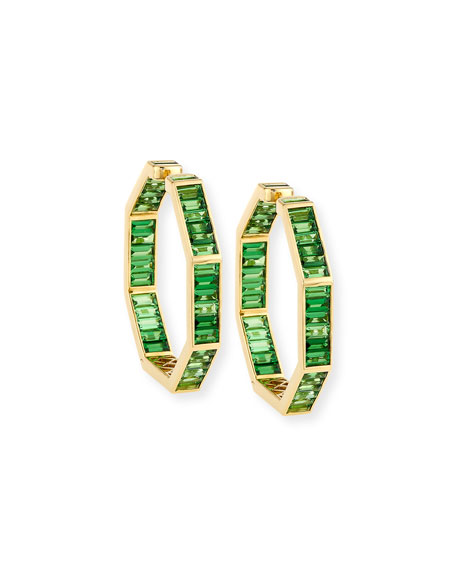 Tsavorite Baguette Hoop Earrings in 18K Gold