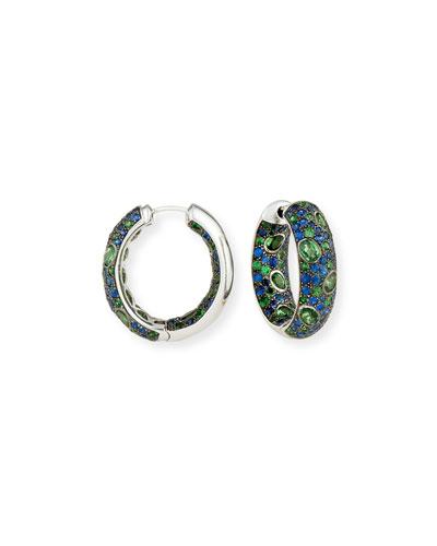 Blue Sapphire & Tsavorite Hoop Earrings