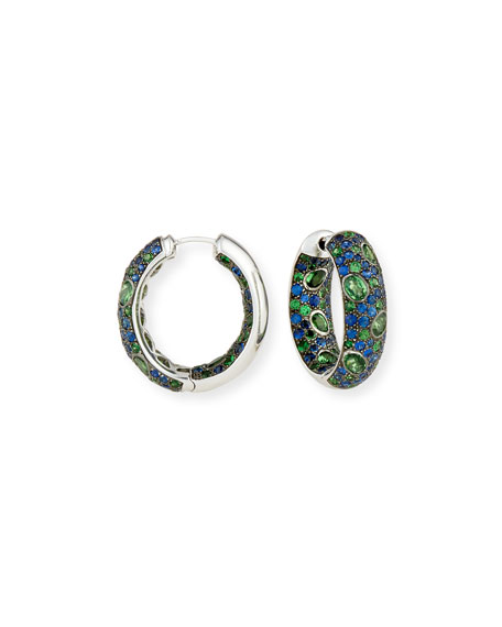 Blue Sapphire & Tsavorite Hoop Earrings