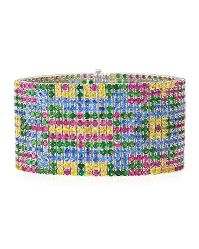 Yellow, Pink & Blue Sapphire Flower Bracelet with Green Tsavorite