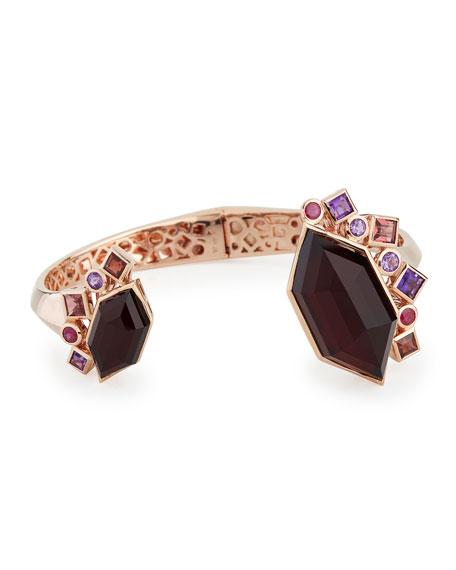 Gold Struck Garnet, Ruby & Amethyst Bracelet