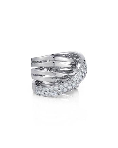 18K White Gold Multi-Row Ring with Diamond Wrap