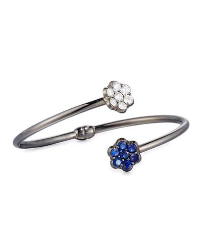 18K Black Gold Diamond & Blue Sapphire Floral Bypass Bracelet