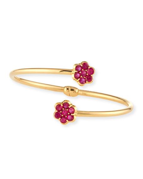 18K Gold & Ruby Floral Bypass Bracelet