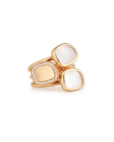 18K Rose Mother-of-Pearl & Diamond Stacked Ring