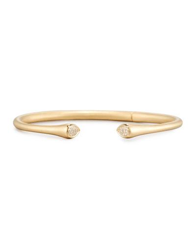 18K Yellow Gold Cuff Bracelet with Pavé Diamonds