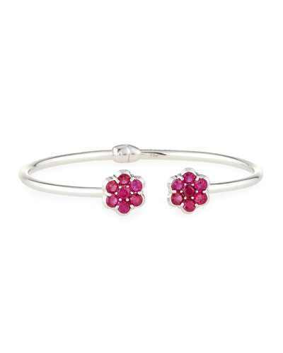 18K White Gold & Ruby Floral Cuff Bracelet