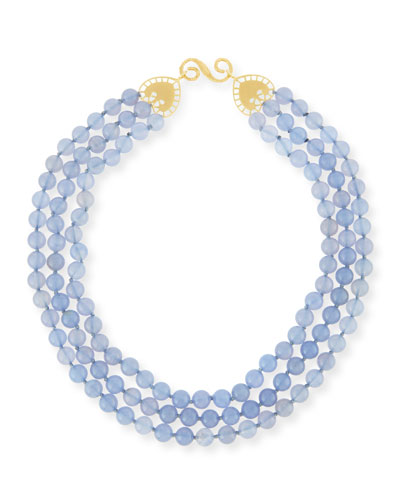 Beaded Lavender Blue Chalcedony Necklace