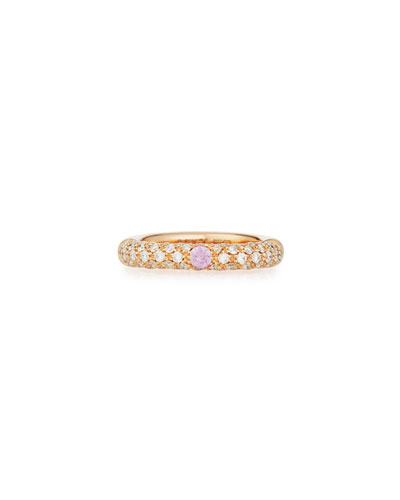 18K Rose Gold & Diamond Ring with One Pink Sapphire  Size 5.5
