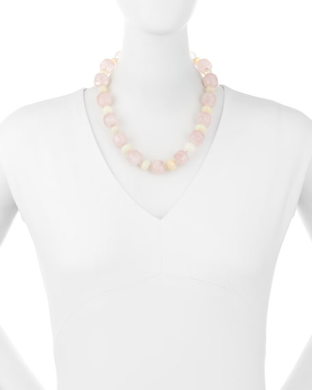 Rose Quartz Bolster & Ethiopian Opal Necklace