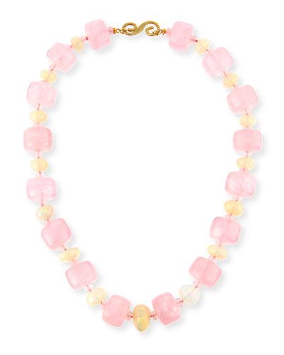 Rose Quartz Bolster & Ethiopian Opal Necklace