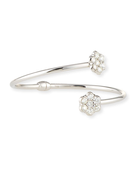 18K White Gold & Diamond Floral Bypass Bracelet