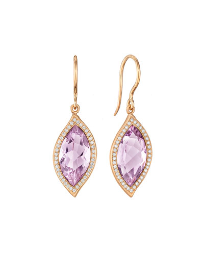 18K Leaf Amethyst Earrings with Diamonds