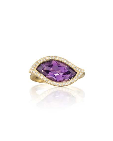 18K Amethyst Leaf Ring with Diamonds, Size 7