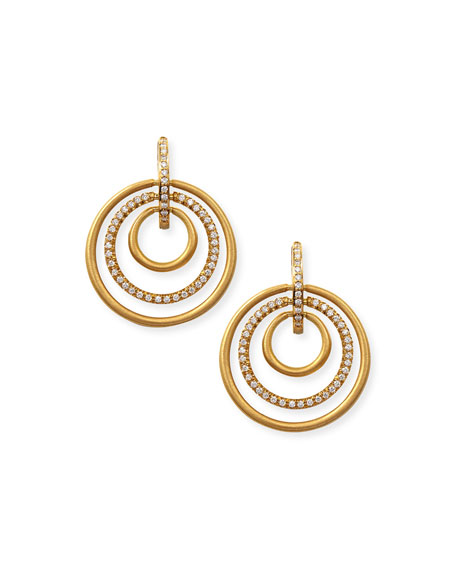 18k Moderne 3-Ring Pave Diamond Earrings, 1 1/8""
