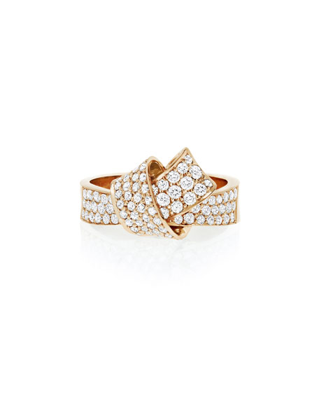 18K Rose Gold & Pavé Diamond Knot Ring, Size 7