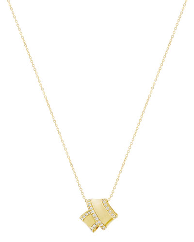 18K Yellow Gold Knot Pendant Necklace with Diamonds