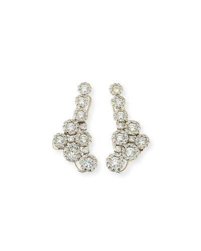 18k White Gold Diamond Climber Earrings