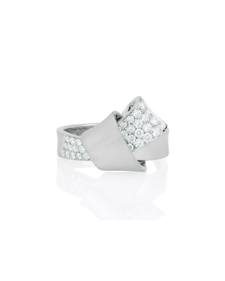 18K White Gold & Pave Diamond Knot Ring, Size 7