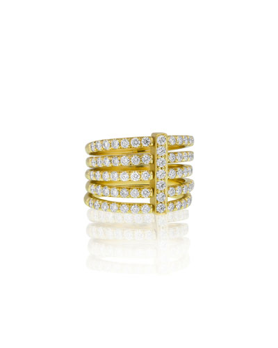 Moderne 18k Five-Row Diamond Ring, Size 6.5