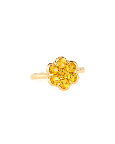 18K Gold & Yellow Sapphire Flower Ring  Size 6