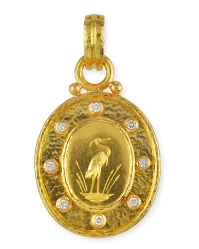 19K Gold Crane Pendant with Diamonds