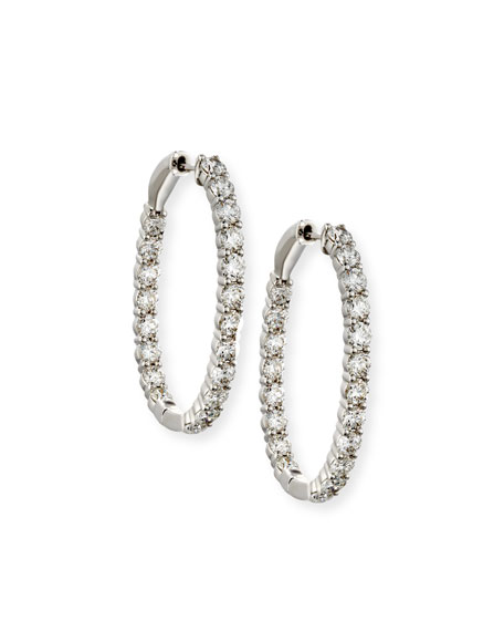 18K White Gold Infinity Diamond Hoop Earrings