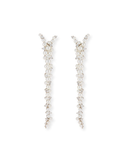 Lagrange 18K Pearl & Diamond Drop Earrings