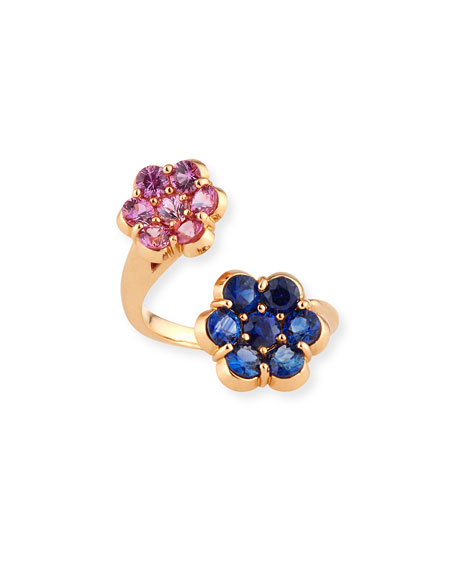 18K Rose Gold Flower Bypass Ring with Pink & Blue Sapphires
