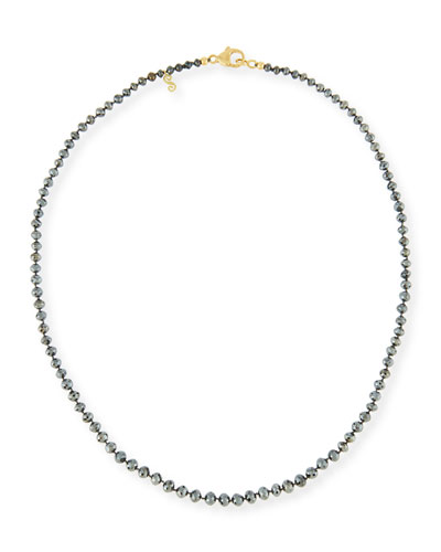 Faceted Round Black Diamond Necklace  18