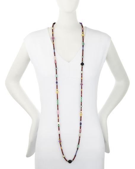 "Long Bohemian Mixed-Gem Necklace, Garnet, 54""L"