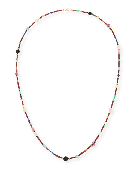 Splendid Long Bohemian Mixed-Gem Necklace, Garnet, 54
