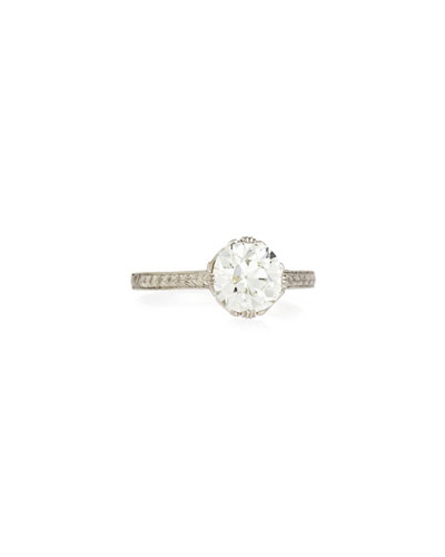 Estate Edwardian Basket Diamond Solitaire Ring, Size 7.25