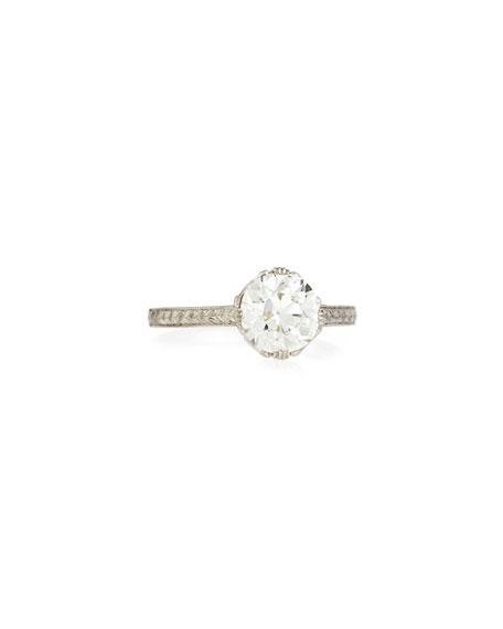 Estate Edwardian Basket Diamond Solitaire Ring, Size 7.25