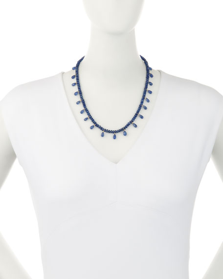 Smooth Blue Sapphire & Faceted Briolette Necklace