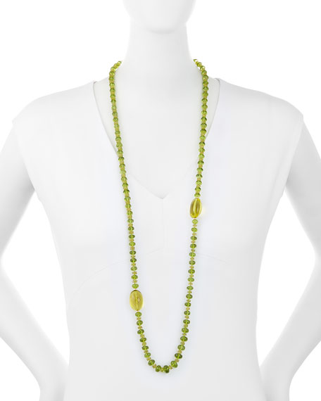 Long Faceted Sphene & Peridot Necklace