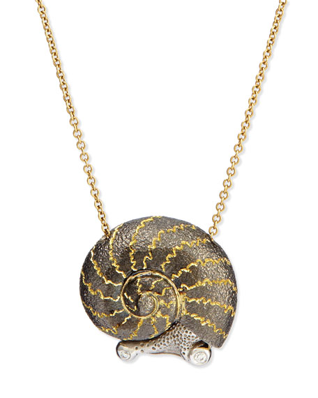 Alex Soldier Snail Pendant Necklace with Diamonds